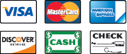 We Accepted Visa, MasterCard, American Express, Discover, Cash and Checks